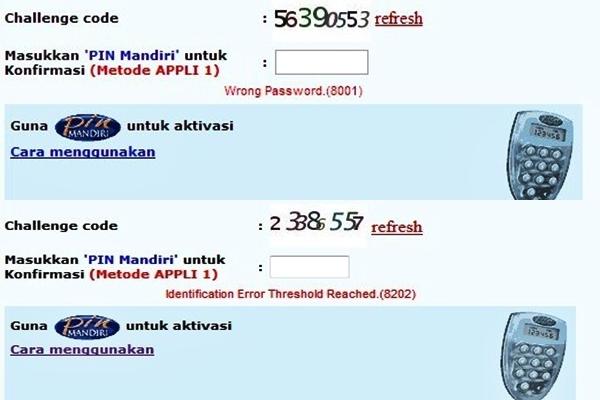Error Appli Pin Token Kode 8202 Atau 8001 Internet Banking Mandiri