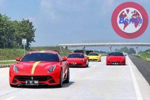 Touring Ferrari Tol Trans Jawa, Info Berita Otomotif Terbaru Puluhan Mobil Ferrari Castarosa yang ikut FOCI Trans Java Tour 2019