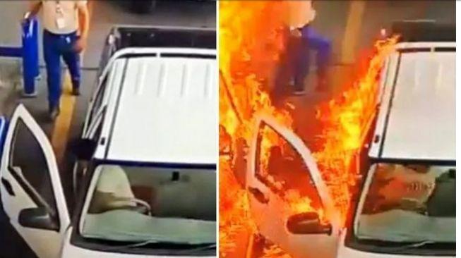 di spbu mobil terbakar